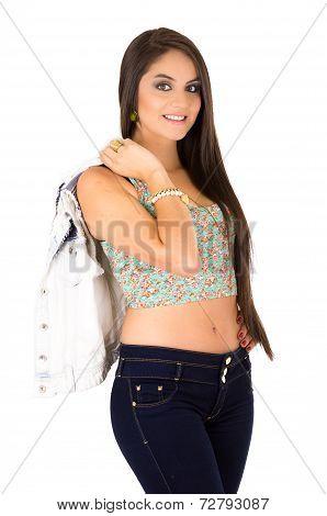 gorgeous female model brunette hispanic posing