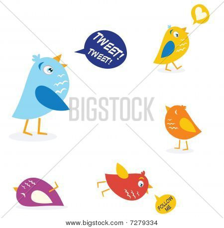 Colored birds set