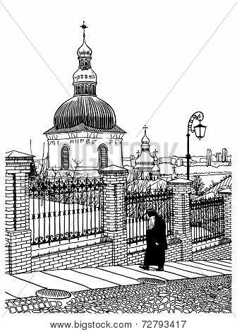 digital drawing of historical building landscape