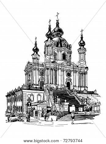 digital drawing of Saint Andrew orthodox church