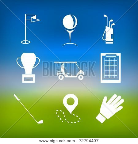 White vector icons for golf