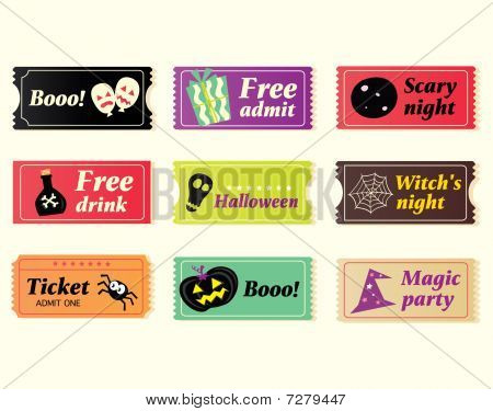 Retro halloween vector tickets