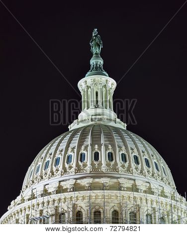 Us Capitol North Side Dome Close Up Flag Night Stars Washington Dc