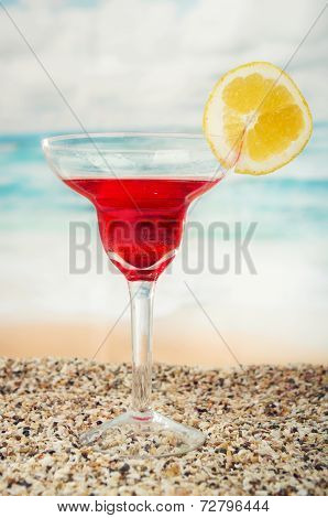 fruity cocktails in the beach