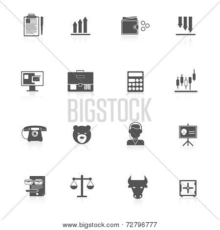 Finance exchange icons black