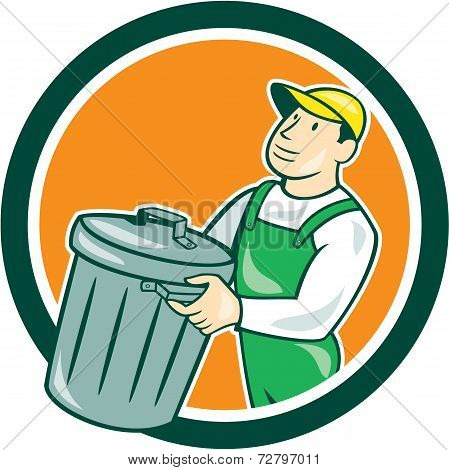 Garbage Collector Carrying Bin Circle Cartoon