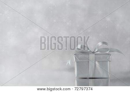 Silver Gift With Ribbon