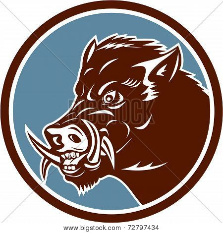 Wild Boar Razorback Head Side Circle Retro