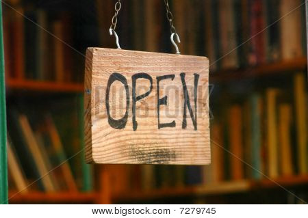 Retail and shopping image of an open shop sign