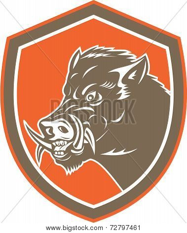 Wild Boar Razorback Head Side Shield Retro
