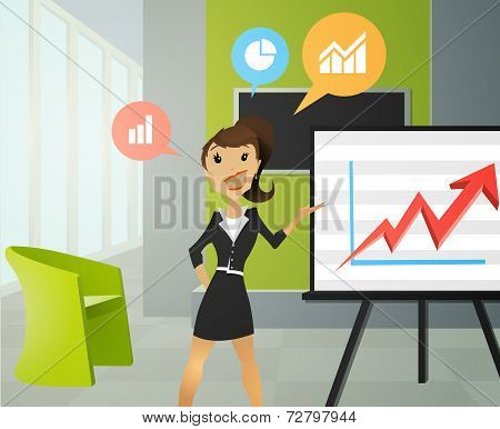 Business women doing a presentation in an office.