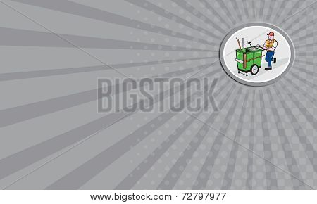 Business Card Street Cleaner Pushing Trolley Oval Cartoon