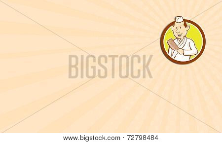 Business Card Japanese Chef Cook Meat Cleaver Circle Cartoon