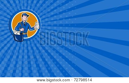 Business Card Mailman Postman Delivery Worker Circle Cartoon
