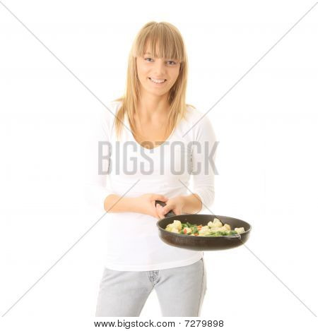 Young Woman Cooking Food
