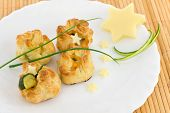stock photo of starlet  - puff pastry appetizers ideal for buffet or snacks - JPG