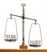 picture of priorities  - Old antique pan scale showing the importance and balance between work and family with family and quality time weighted as being the priority - JPG