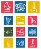 pic of tuning fork  - Vector white musical instruments icons set on colorful background - JPG