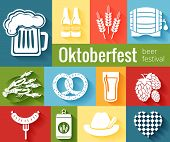stock photo of pretzels  - Set of vector Oktoberfest icons with a tankard of beer  barley  hops  barrel  lobster   pretzel  sausage   bottles and a hat on colored backgrounds - JPG