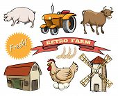 picture of dairy barn  - Set of Retro Farm colored vector icons pig  tractor   cow  barn  laying hen  windmill or mill and ribbon banner with the text - JPG