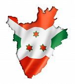 foto of burundi  - Burundi flag map three dimensional render isolated on white - JPG