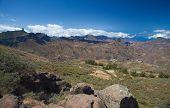 pic of parador  - Gran Canaria Caldera de Tejeda both Roque Nublo and Roque Bentayga visible  - JPG
