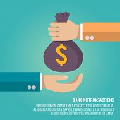 picture of money  - Human hand gives money bag to another person payment banking poster vector illustration - JPG