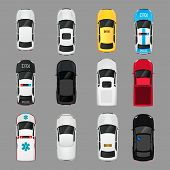 stock photo of car symbol  - Cars transport top view icons set isolated vector illustration - JPG
