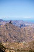 stock photo of parador  - Gran Canaria Caldera de Tejeda Roque Bentayga - JPG