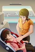foto of seatbelt  - A vector illustration of mother strapping seatbelt on her child car seat - JPG