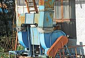 image of ventilator  - Old factory air conditioning and ventilation systems on a roof - JPG
