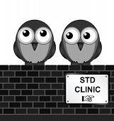 stock photo of genital  - Monochrome sexually transmitted disease clinic sign on brick wall isolated on white background - JPG