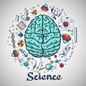 image of science  - Human brain and physics and chemistry icons in science concept sketch vector illustration - JPG