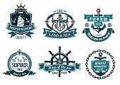 image of ship steering wheel  - Blue nautical and sailing themed banners or icons with ship - JPG