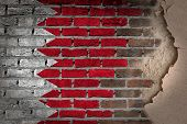 stock photo of bahrain  - Dark brick wall texture with plaster  - JPG