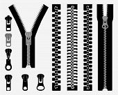 pic of zipper  - Set of different zipper black symbols - JPG