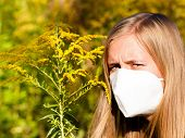 pic of ragweed  - Beautiful woman wearing medical mask because of ragweed allergy - JPG
