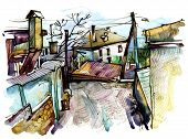 stock photo of crimea  - original watercolor painting on paper of old street in Gurzuf - JPG