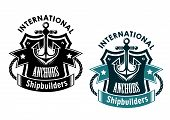 image of shipbuilding  - Marine international shipbuilders retro banner with anchor - JPG