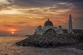 picture of malacca  - Malacca Straits Mosque at sunset in Malaysia located in a man - JPG