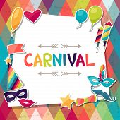 stock photo of masquerade mask  - Celebration background with carnival stickers and objects - JPG