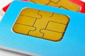 image of micro-sim  - two color sim cards on a white background - JPG