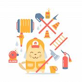 stock photo of firehose  - Character firefighter in coveralls and helmet colorful flat composition of professional accessories - JPG