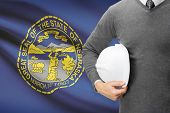 picture of nebraska  - Engineer with flag on background series  - JPG
