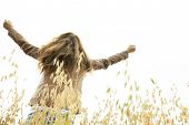 image of 55-60 years old  - A Woman on wheat have good time - JPG