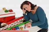 stock photo of fatigue  - Horizontal shot of a woman with holiday fatigue - JPG