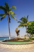 stock photo of malecon  - Friendship fountain on Malecon at Pacific ocean in Puerto Vallarta Mexico - JPG