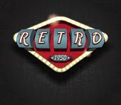 stock photo of 1950s style  - retro sign vintage style on a black background - JPG