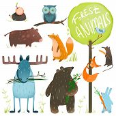 Постер, плакат: Cartoon Forest Animals Set