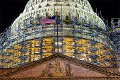 picture of laws-of-attraction  - US Capitol Dome with Construction on Capitol Hill at Night and Stars in Washington DC - JPG